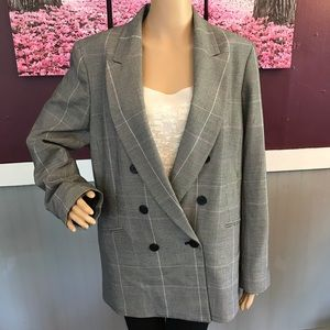 None West double breasted plaid blazer size 14